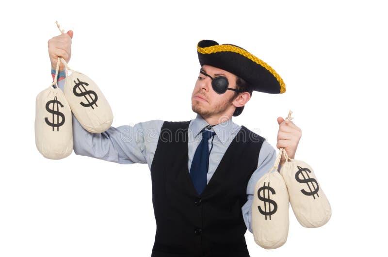 O pirata do homem de neg?cios isolado no fundo branco fotos de stock royalty free