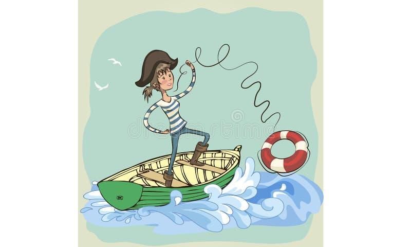 O pirata joga um anel de vida Pirateie a menina Balanço da menina do pirata dos desenhos animados ilustração stock