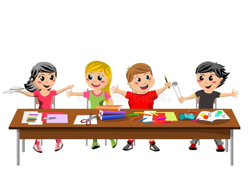 O pirralho feliz caçoa as crianças que sentam a escola da mesa isolada ilustração royalty free