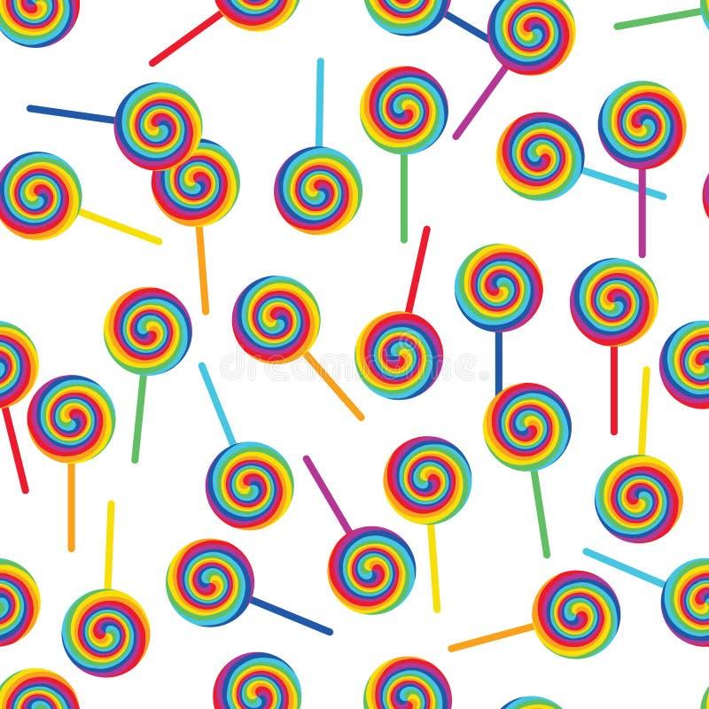 O pirulito do arco-íris gerencie o teste padrão sem emenda branco ilustração royalty free