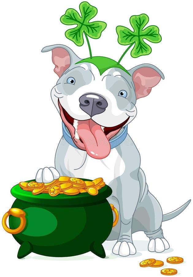 O pitbull comemora Saint Patrick Day ilustração stock
