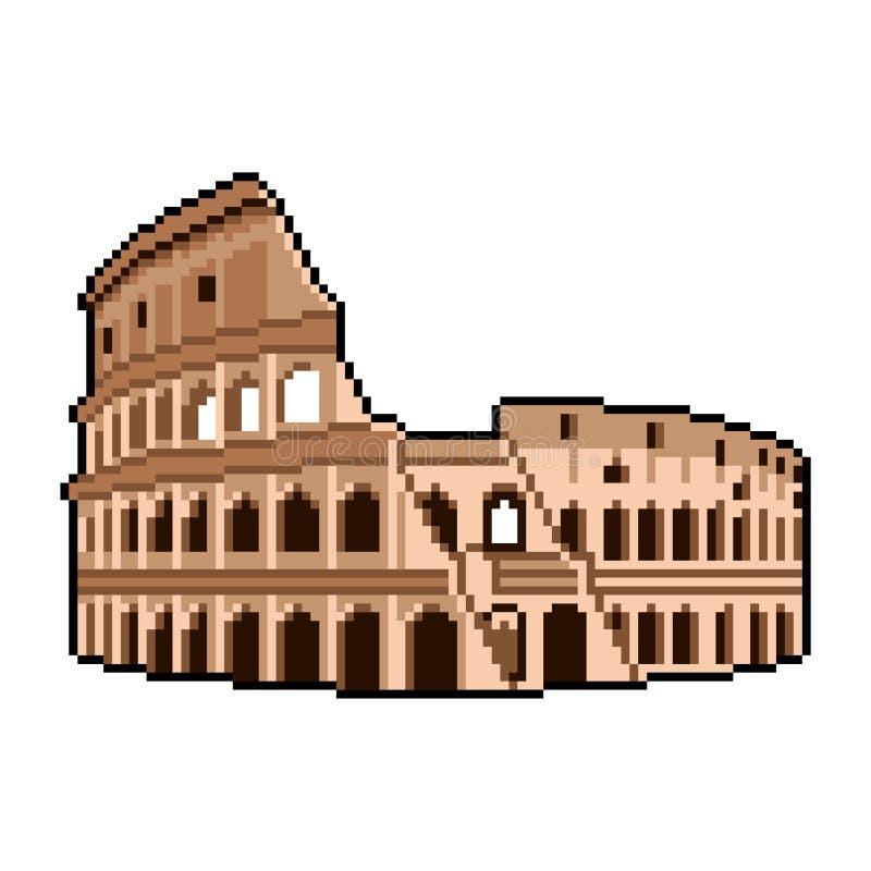 O pixel Roman Coliseum quer saber do vetor isolado do mundo ilustração detalhada ilustração stock