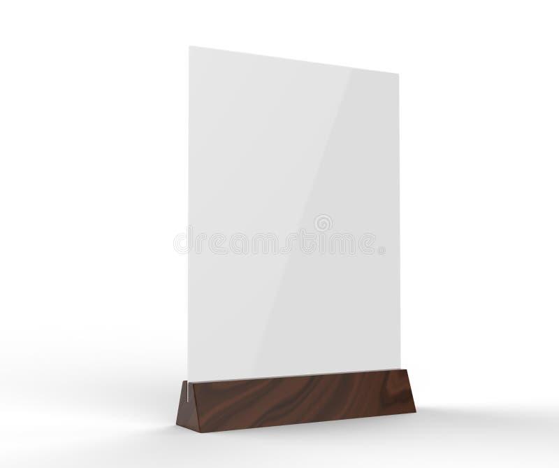 O plástico claro e o menu ereto relativo à promoção dos oradores acrílicos da tabela apresentam a imagem superior do suporte de e ilustração do vetor