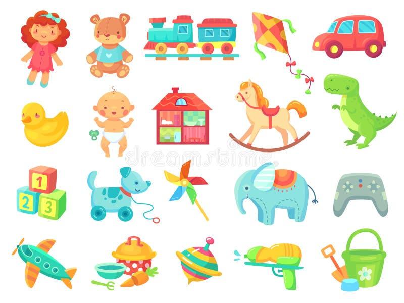 O plástico colorido do carro engraçado do brinquedo da boneca da menina do urso do luxuoso brinca a coleção do vetor dos objetos ilustração do vetor