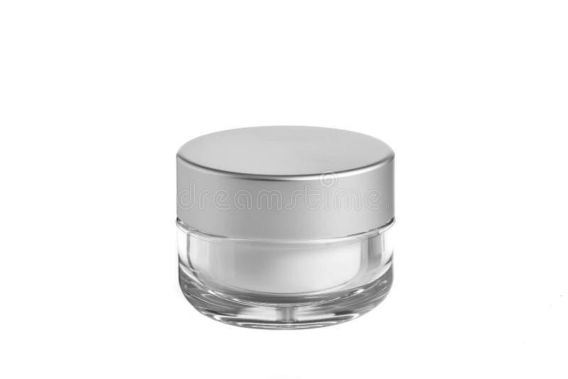O plástico vazio, vidro range o cosmético, loção que empacota em um fundo branco imagem de stock