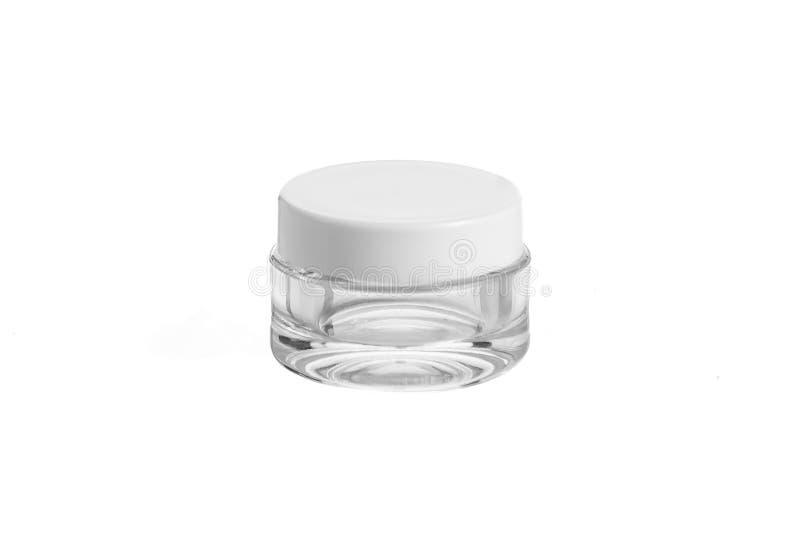 O plástico vazio, vidro range o cosmético, loção que empacota em um fundo branco fotografia de stock