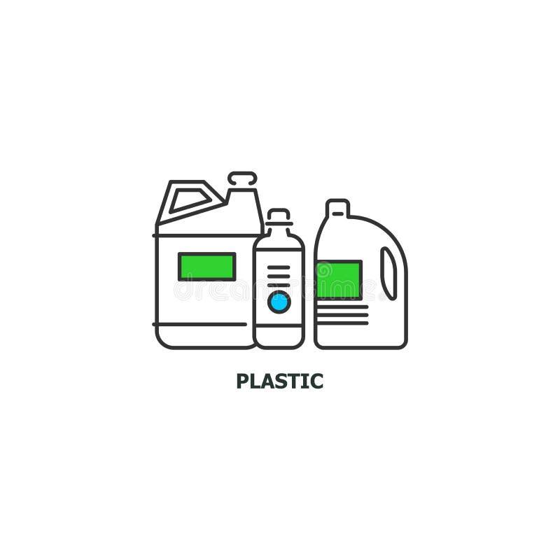 O plástico Waste recicla o ícone do conceito na linha projeto, ilustração lisa do vetor no fundo branco ilustração stock