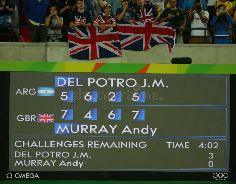 O placar após homens do tênis escolhe o final em Maria Esther Bueno Court do Rio 2016 Jogos Olímpicos no Tenni olímpico fotografia de stock