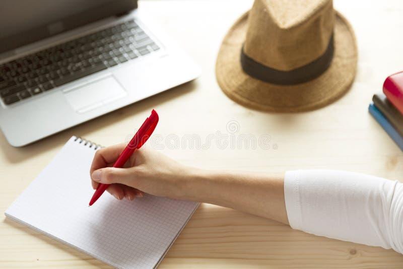 O planeamento da mulher vacations informação da pesquisa em linha em um lapto imagens de stock