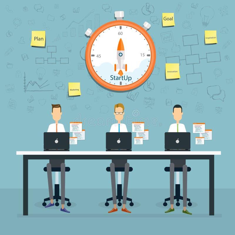 o planeamento e o starup de trabalho do negócio dos povos ao negócio projetam-se ilustração do vetor