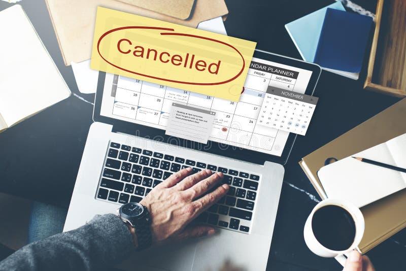 O planejador cancelado da nomeação ignora o conceito imagens de stock