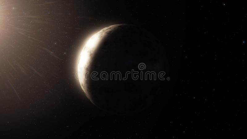 O planeta bonito gerencie no fundo do céu noturno Planeta com a nebulosa no espaço profundo Rotação do planeta dentro profunda ilustração stock