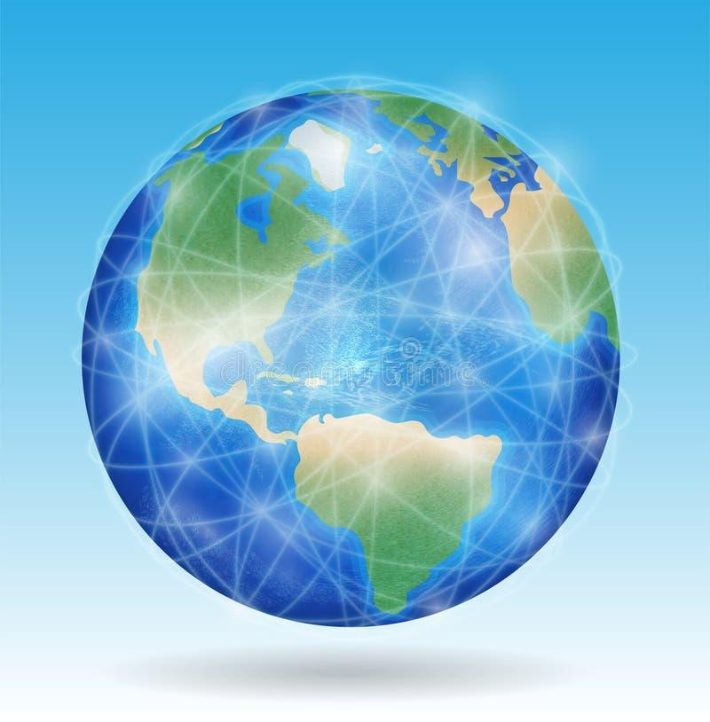 O planeta da terra com linha de rede conecta em todo o mundo ilustração do vetor
