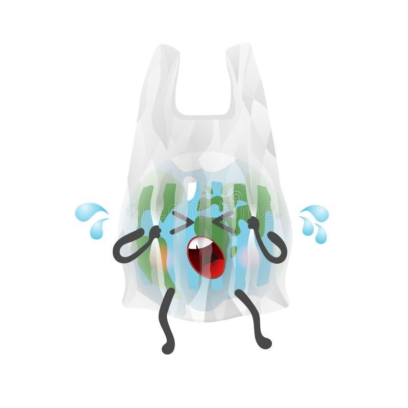 O planeta da terra como um personagem de banda desenhada é prendido no saco de plástico ilustração stock