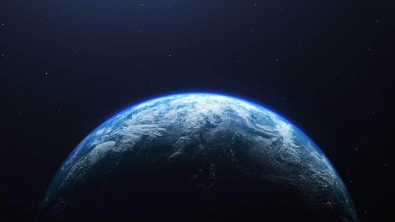 O planeta da terra visto do espaço, 3d rende ilustração do vetor