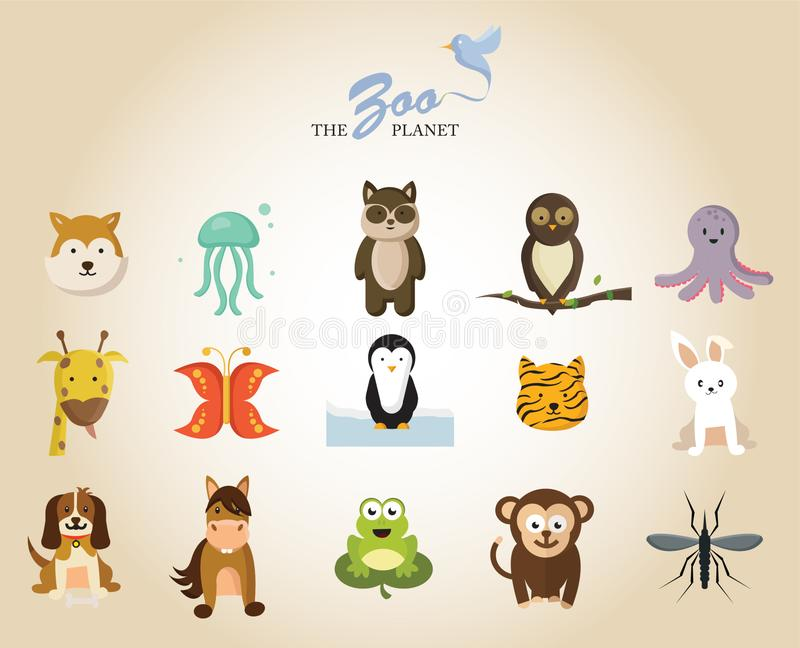 O planeta do jardim zoológico com os 15 animais diferentes ilustração do vetor