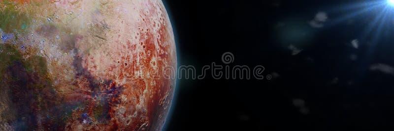 O planeta estrangeiro iluminado por uma bandeira da ilustração da estrela 3d, elementos desta imagem é fornecido pela NASA ilustração royalty free