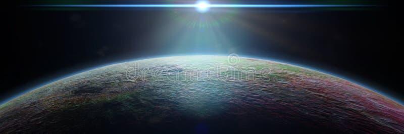 O planeta estrangeiro misterioso iluminou-se por uma estrela azul brilhante ilustração do vetor