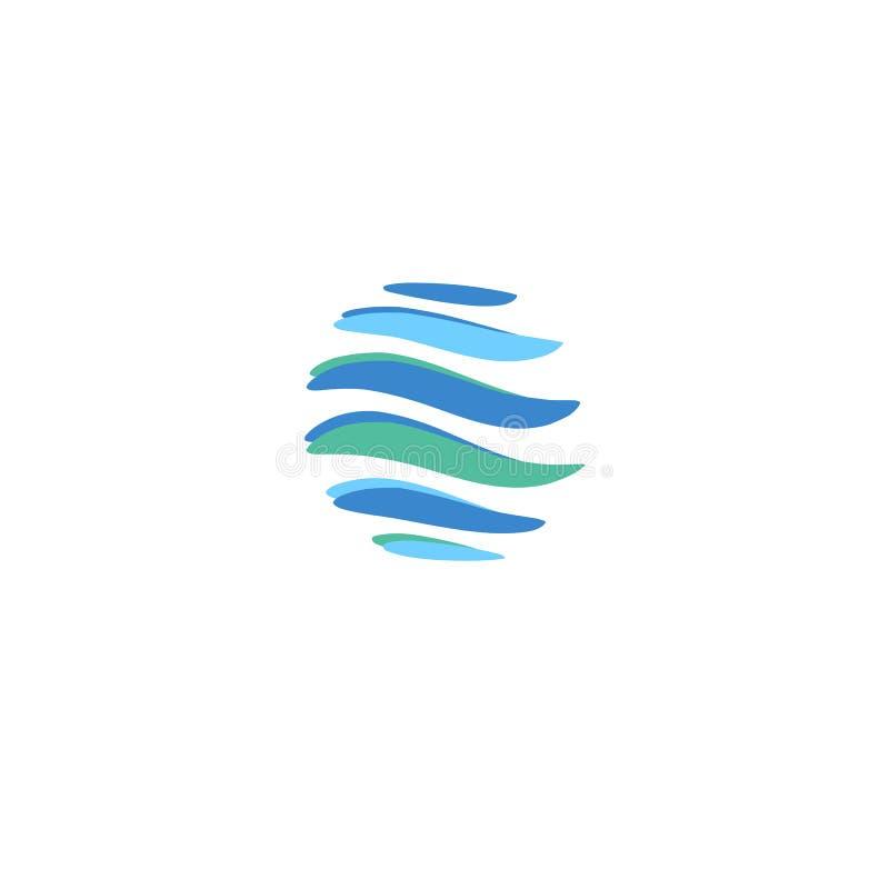 O planeta global azul abstrato descascou o molde dos logotipos do vetor Tiras azuis de giro, planeta circular no movimento em tor ilustração do vetor