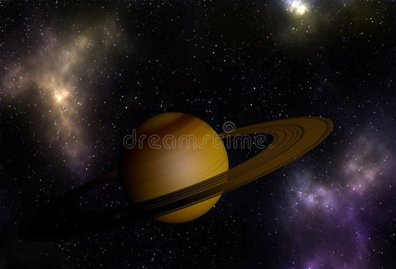 O planeta grande gosta de Saturn no espaço vibrante ilustração do vetor