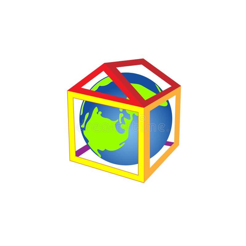 O planeta pequeno amigável está na casa, está acolhedor e morno Ilustração do vetor ilustração stock