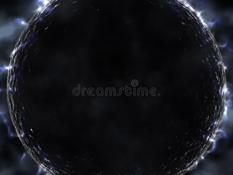 O planeta preto estrangeiro com incandesce ilustração do vetor