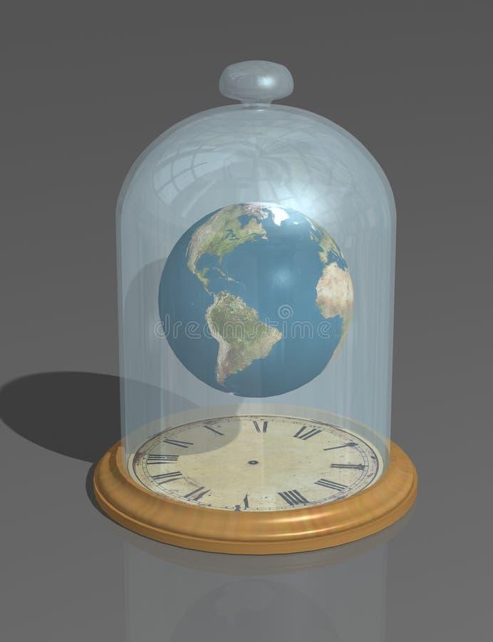 O planeta sob o tampão de vidro acima da face do relógio A atmosfera, o espaço e o tempo do ` s da terra imagens de stock
