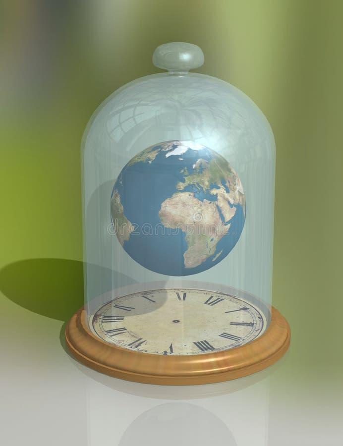 O planeta sob o tampão de vidro acima da face do relógio A atmosfera, o espaço e o tempo do ` s da terra fotos de stock royalty free