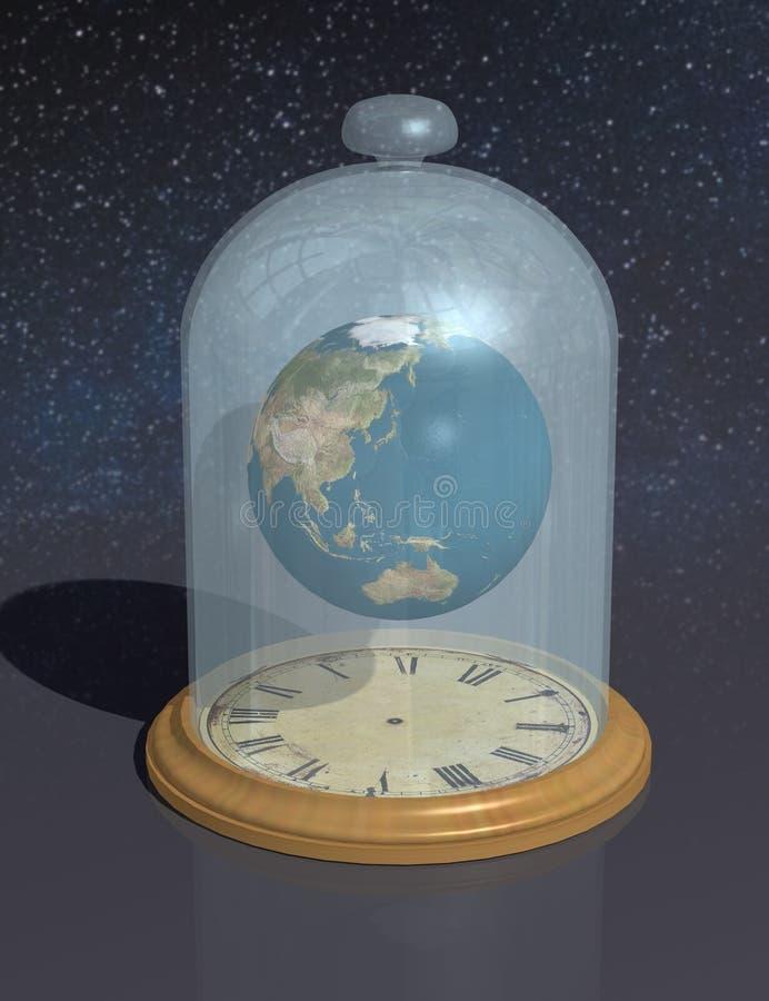 O planeta sob o tampão de vidro acima da face do relógio A atmosfera, o espaço e o tempo do ` s da terra foto de stock