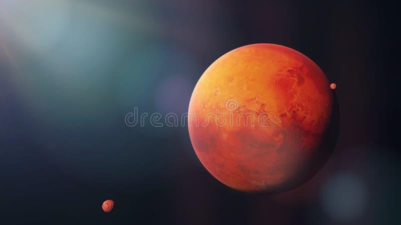 O planeta vermelho Marte com ele luas Phobos e Deimos, parte do espaço do sistema solar 3d rende, elementos desta imagem é fornec imagens de stock