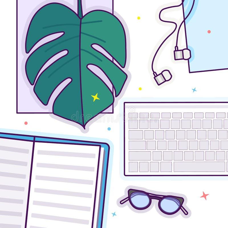 O plano coloca com vidros, o livro aberto, os vidros, os fones de ouvido, o teclado e a folha do monstera ilustração royalty free