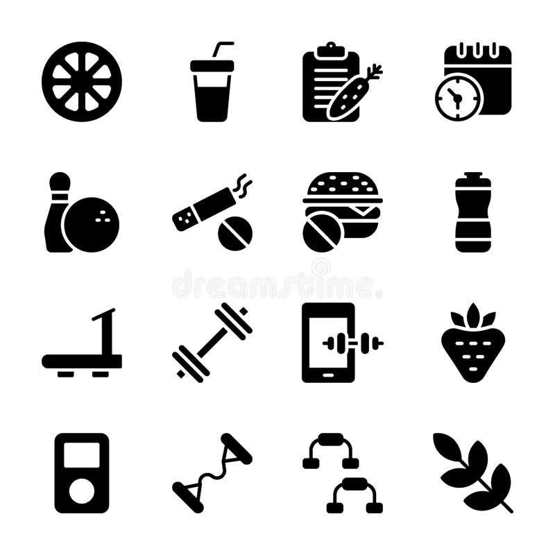 O plano da dieta, esportes suplementa, ícones da nutrição empacota ilustração royalty free
