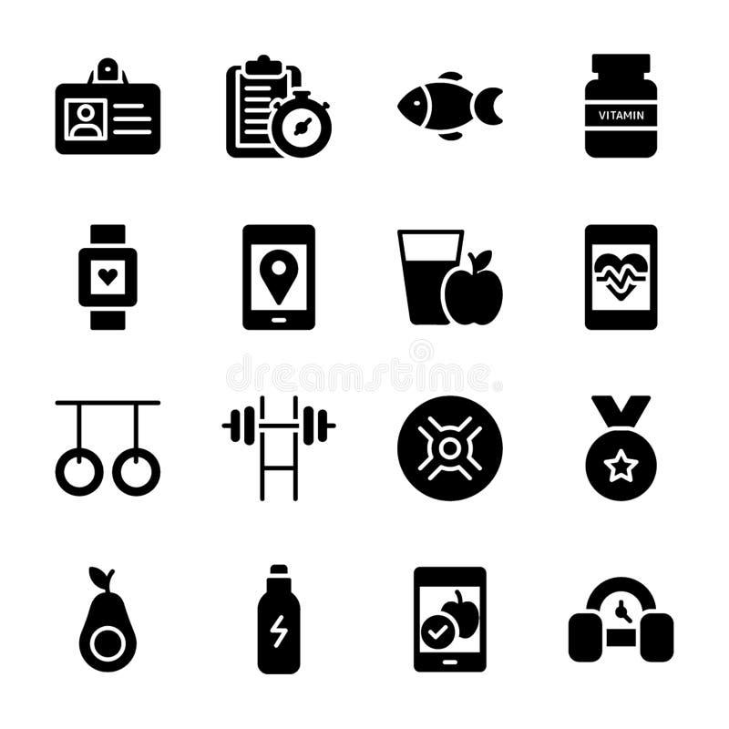 O plano da dieta, esportes suplementa, coleção dos ícones das nutrições ilustração stock