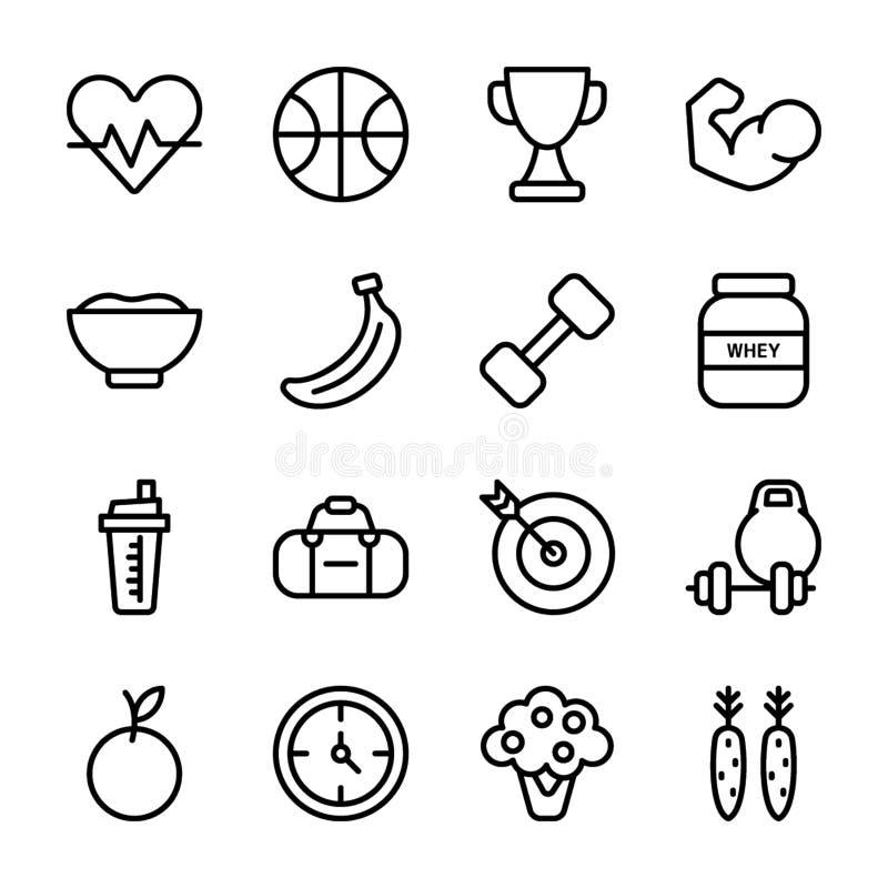 O plano da dieta, esportes suplementa, grupo dos ícones da nutrição ilustração do vetor
