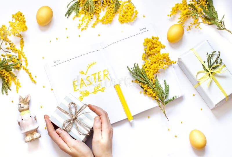 O plano da mola da Páscoa coloca com flores da mimosa, um caderno e um coelho A mão da mulher holiding um presente imagens de stock royalty free