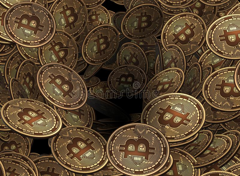 O plano de fundo de muitos bitcoin criptocurrency - 3d renderin ilustração do vetor