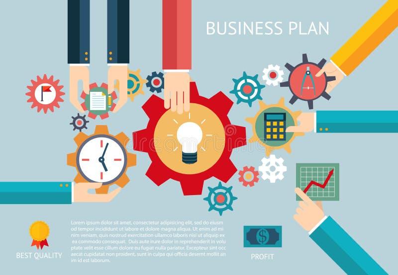 O plano de negócios alinha o trabalho infographic da equipe da empresa ilustração royalty free