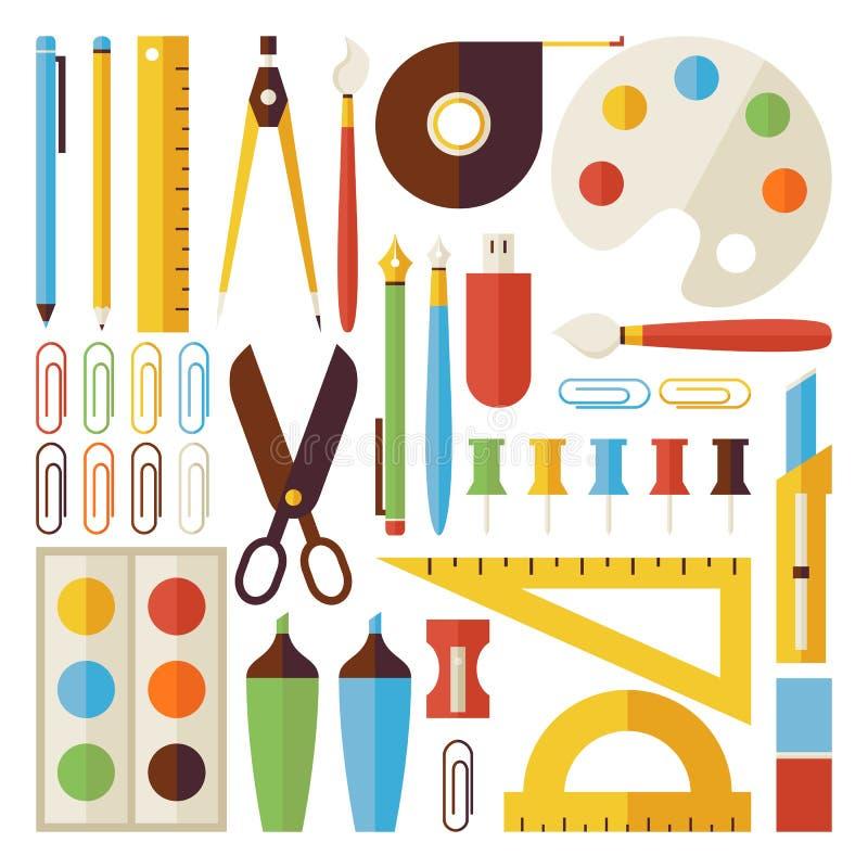 O plano de volta aos objetos da escola e aos instrumentos do escritório ajustou-se isolado ilustração stock