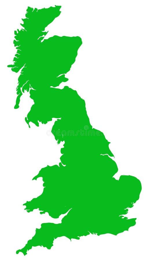 O plano do verde do mapa do vetor de Grâ Bretanha isolou-se ilustração royalty free