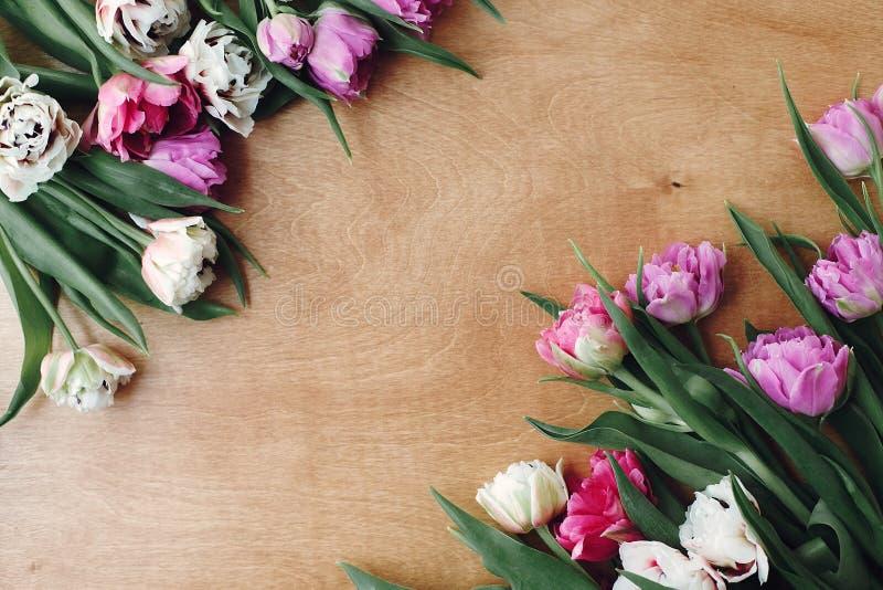 O plano dobro bonito da beira das tulipas da peônia coloca na tabela de madeira, espaço para o texto Rosa colorido e tulipas roxa imagens de stock royalty free
