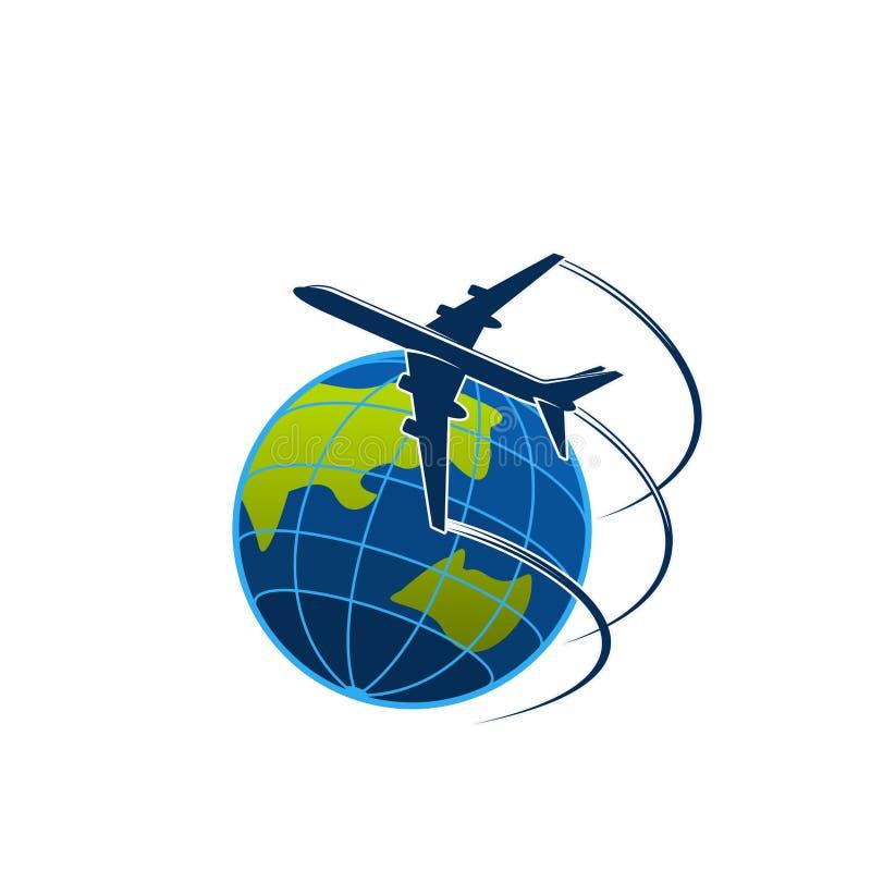 O plano e o globo viajam ou expressam o ícone do vetor do cargo ilustração royalty free
