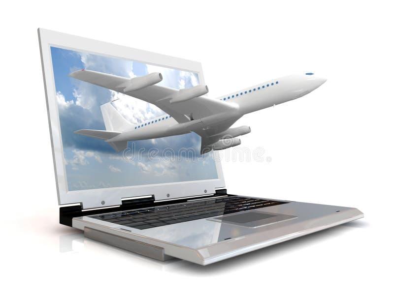 O plano e o portátil ilustração stock