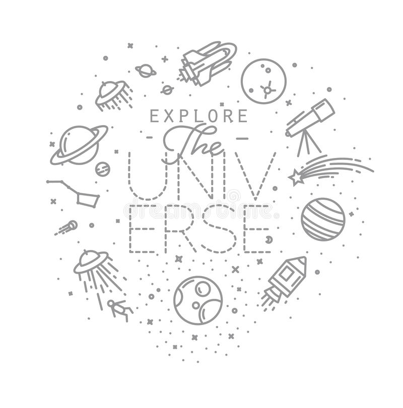 O plano explora o monograma do universo ilustração do vetor