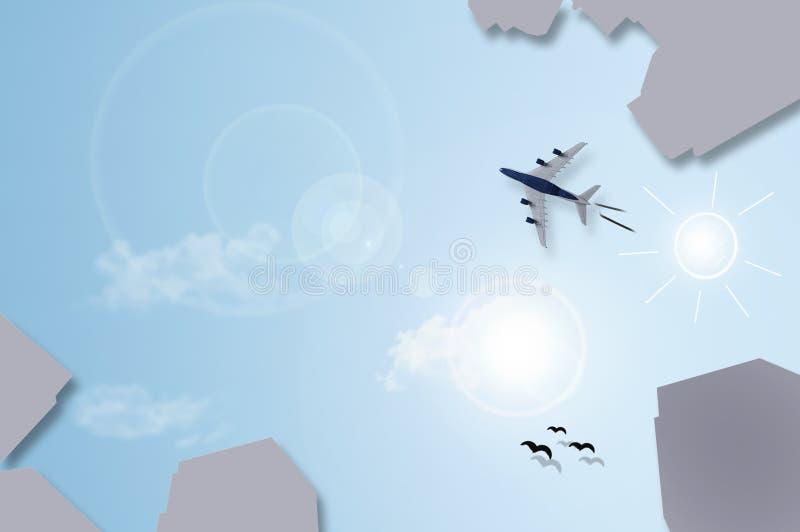 O plano grande dos arranha-céus da cidade coloca o sumário com voo plano sobre a SK fotos de stock