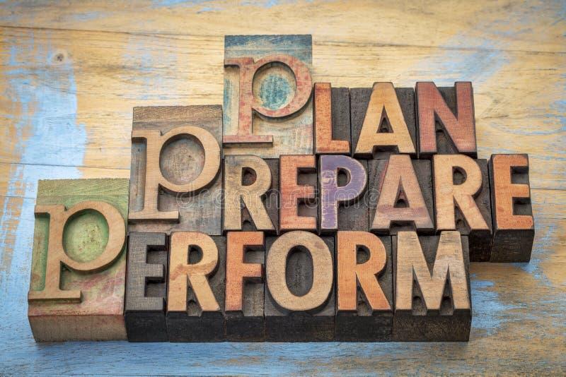 O plano, prepara, executa o sumário da palavra imagem de stock