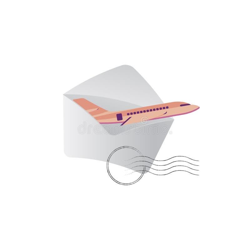 O plano voa fora de um envelope com um selo Ícones do conceito para artigos postais Ilustração lisa eps10 ilustração do vetor