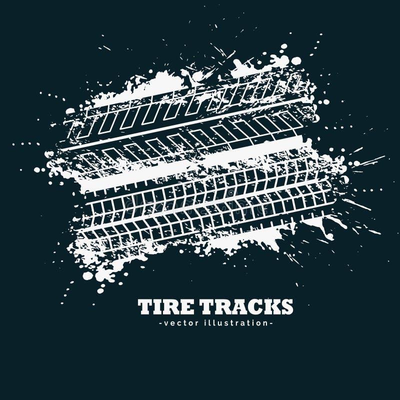O pneu abstrato do grunge segue marcas no fundo escuro ilustração do vetor
