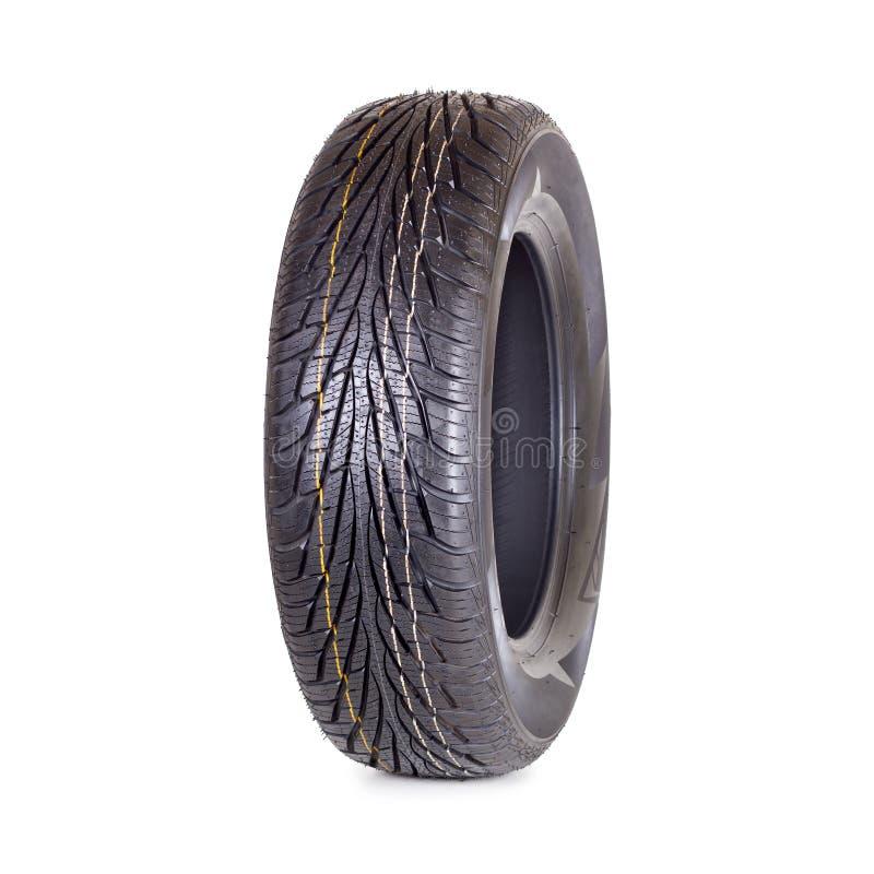 O pneu de carro novo no fundo branco fecha-se isolado acima fotografia de stock royalty free