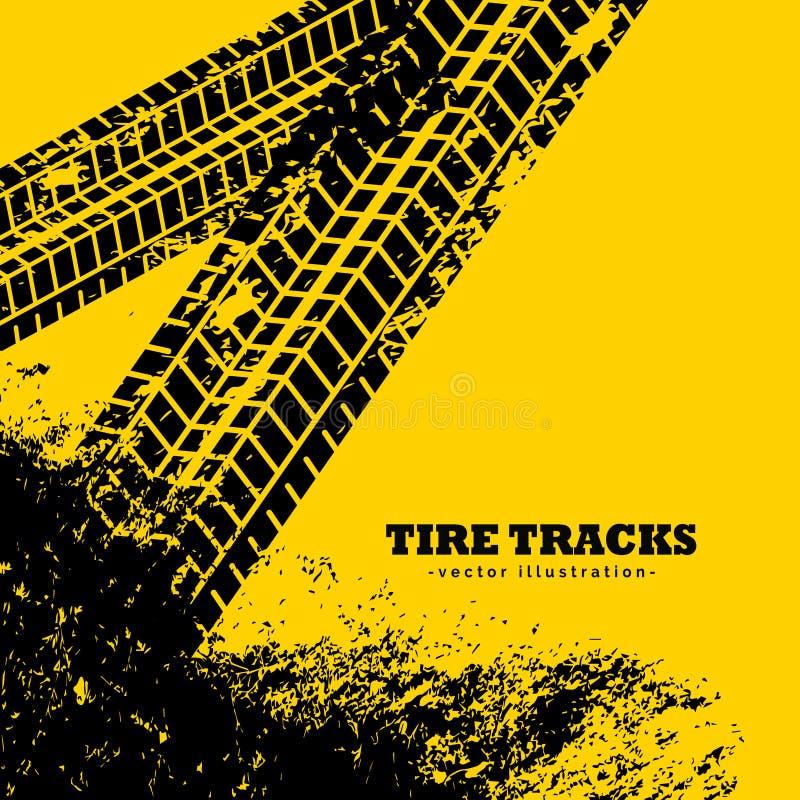 o pneu segue marcas no fundo do amarelo do grunge ilustração royalty free