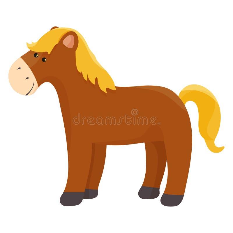 O poço gromed o cavalo marrom com olhos grandes, ilustração do vetor dos desenhos animados isolada no fundo branco Exploração agr ilustração do vetor